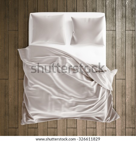 3d illustration of bed in the bedroom. View from the top bed - stock photo