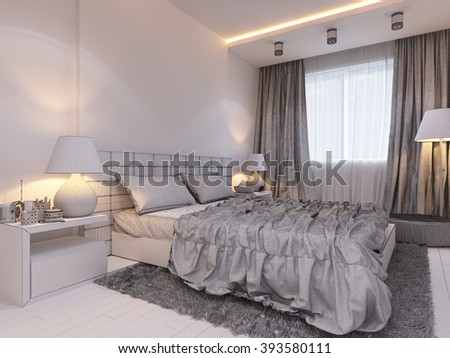 3d illustration of bedroom interior design in a modern style. Bedroom displayed in the polygon mesh. Under the window area for relaxation