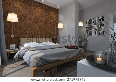 3d illustration of bedrooms in a Scandinavian style - stock photo