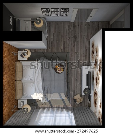 3d illustration of bedrooms in a Scandinavian style. Top view - stock photo