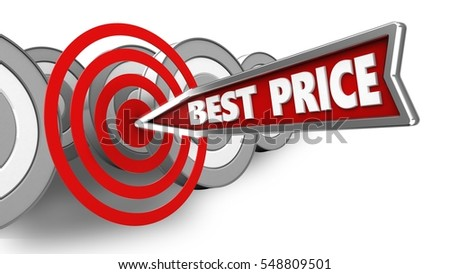 3d illustration of best price arrow with circles target over white with targets background
