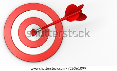 3d illustration of big taget with red dart over white background
