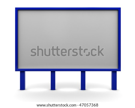 3d illustration of billboard over white background