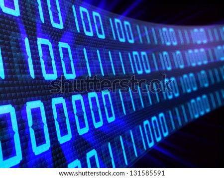 3d illustration of binary background - stock photo
