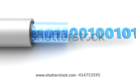 3d illustration of binary information inside cable - stock photo