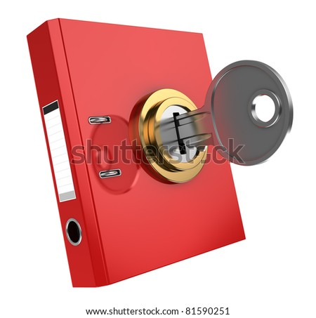 3d illustration of binder folder locked with key - stock photo