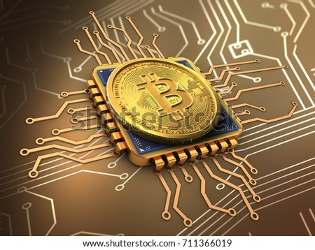 3d illustration of bitcoin over circuit background with cpu gold