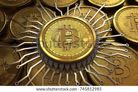 3d illustration of bitcoin over coins stacks background with integrated chip