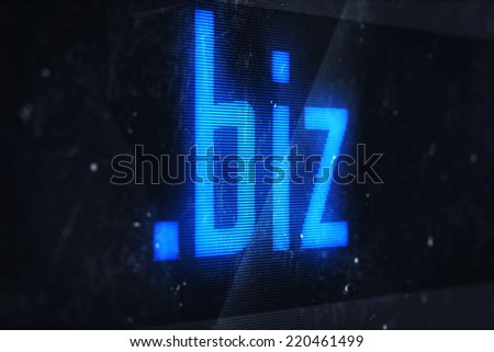 3d illustration of biz domain names and internet concept digital screen  - stock photo