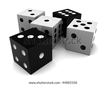 3d illustration of black and white dices over clear background