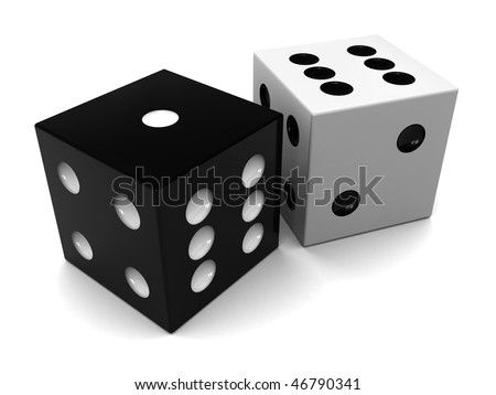 3d illustration of black and white dices, over white background