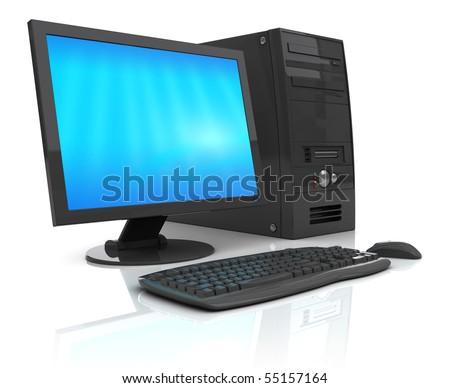 3d illustration of black desktop computer, over white background - stock photo