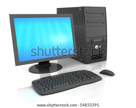 3d illustration of black desktop computer over white background with refelction - stock photo