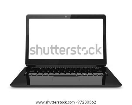 3d illustration of black laptop isolated on white background - stock photo