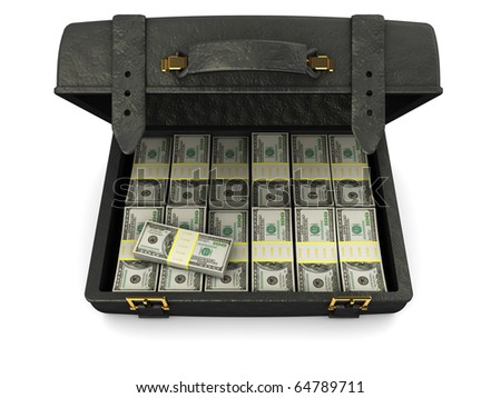 3d illustration of black leather case full of money, over white background - stock photo