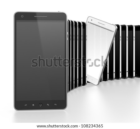 3D illustration of black mobile phones in a row with white one standing apart - stock photo
