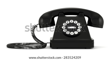 3d illustration of black old-fashioned phone on white background