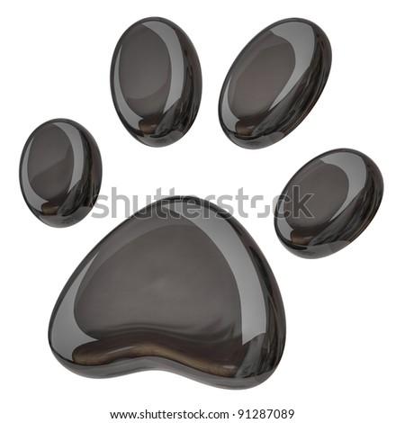 3d illustration of black paw - stock photo