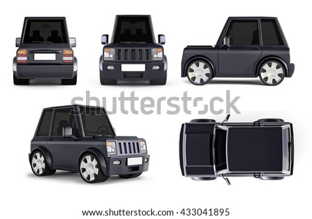 3D illustration of  black SUV cartoon car all views front side top perspective back