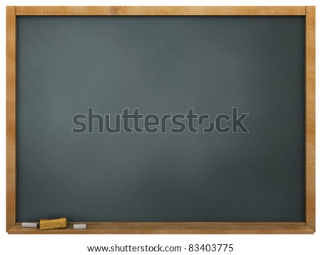 3d illustration of blackboard over white background - stock photo