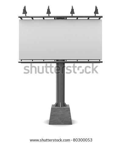 3d illustration of blank billboard over white background - stock photo