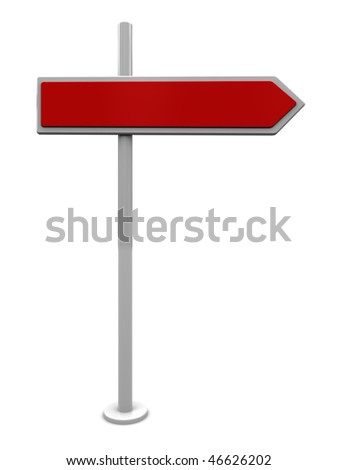 3d illustration of blank direction sign, over white background