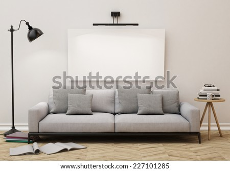 3D illustration of blank poster on the wall of living room, background - stock photo
