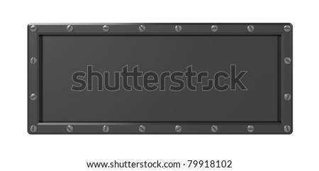 3d illustration of blank steel plate isolated over white