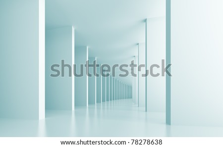 3d Illustration of Blue Architecture Background