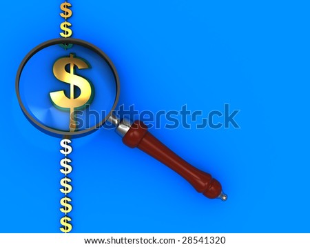 3d illustration of blue background with dollar signs and magnify glass
