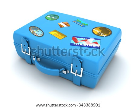 3d illustration of blue case with travel labels - stock photo