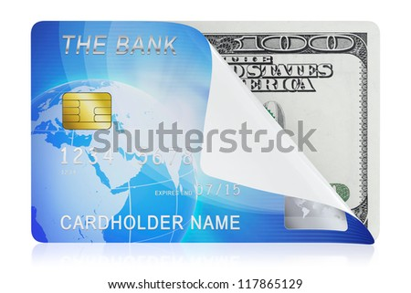 3D illustration of blue credit card concept isolated on white background
