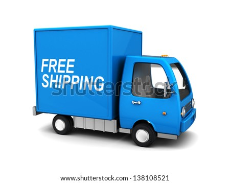 3d illustration of blue delivery truck with 'free shipping' sign - stock photo
