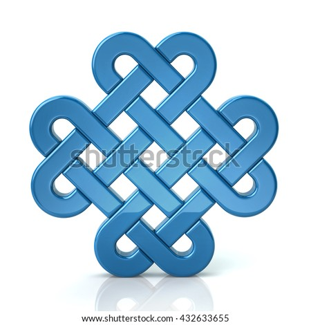 3d illustration of blue eternal knot isolated on white background - stock photo