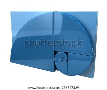 3d illustration of blue golden ratio icon - stock photo