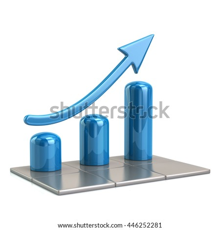 3d illustration of blue growing graph icon isolated on white background - stock photo