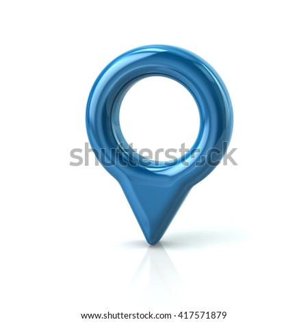 3d illustration of blue map pointer pin isolated on white background