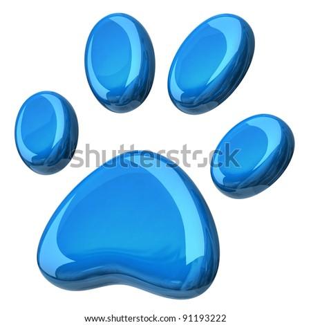 3d illustration of blue paw - stock photo