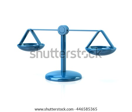 3d illustration of blue scales icon isolated on white background - stock photo