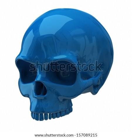 3d illustration of blue skull isolated on white background - stock photo