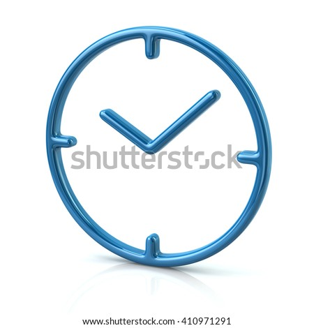 3d illustration of blue time icon isolated on white background - stock photo