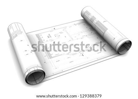 3d illustration of blueprint roll, over white background - stock photo