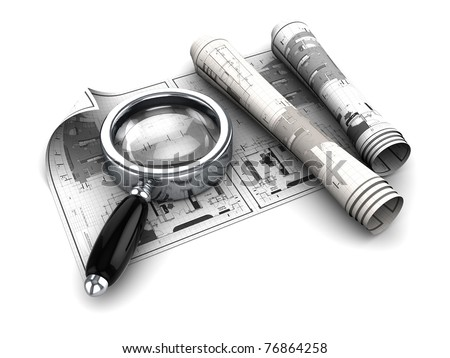 3d illustration of blueprints and magnify glass - stock photo