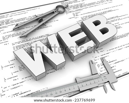 3d illustration of blueprints and text 'web' - stock photo
