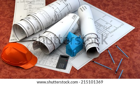 3d illustration of  Blueprints, house model and construction equipment  on architect working table.Construction Concept. - stock photo