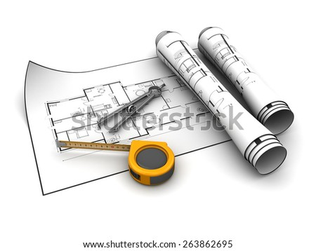 3d illustration of blueprints with tools, over white background - stock photo