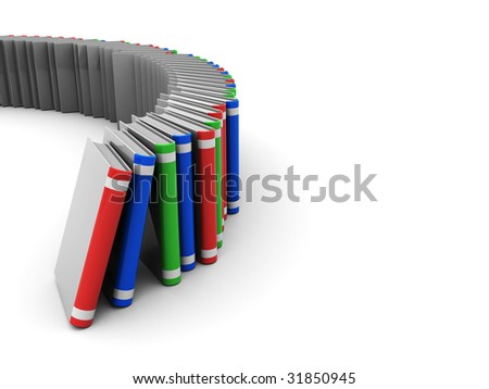 3d illustration of books stack at left side of white background