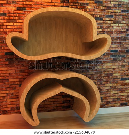 3d illustration of Bookshelf in shape of hat and mustache - stock photo