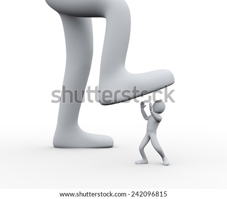 3d illustration of  boss's foot stepping on employee.  3d rendering of people - human character - stock photo