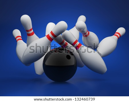 3d illustration of bowling strike concept on blue background - stock photo